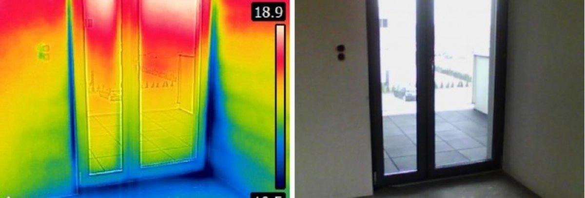 Badanie budynku kamerą termowizyjną. Szczelność budynku.